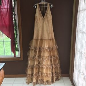 Copper Brown Ruffled beaded Gown, Size 22